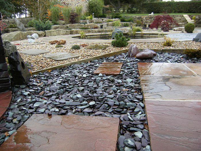 Snowdonia tumbled slate 20 40mm decorative aggregates for Blue slate garden designs
