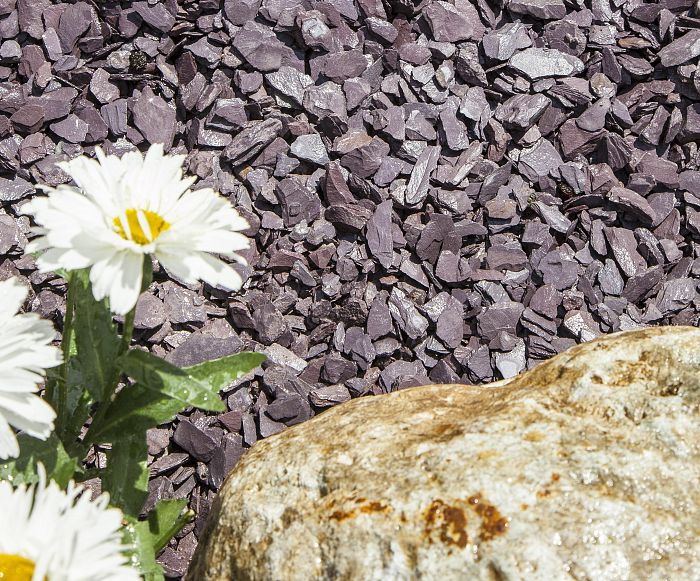 20mm plum slate chippings next to flowers